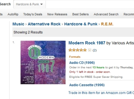 To be fair, Amazon says R.E.M. is a hardcore punk band.